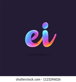 Letters EI, E & I logo, multi colour letters icon vector template.