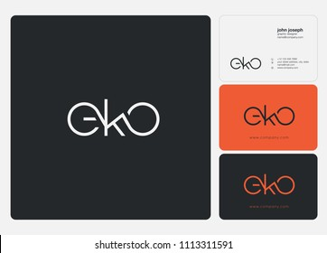 Letters EKO logo icon with business card vector template.