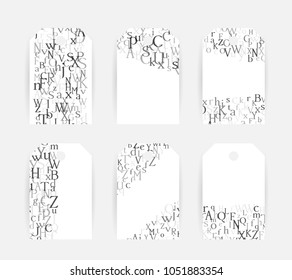 Letters. English alphabet design collection. Vector illustrations for students and children education classes and language lessons advertising.  Labels and tags