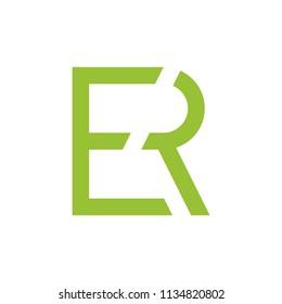 letters er linked geometric logo vector