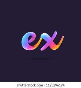 Letters EX, E & X logo, multi colour letters icon vector template.
