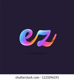 Letters EZ, E & Z logo, multi colour letters icon vector template.