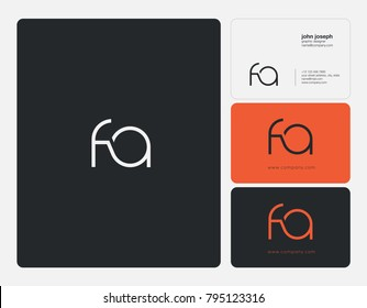 Letters F A, F&A joint logo icon with business card vector template.