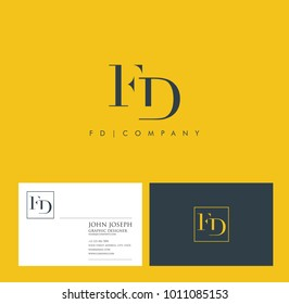 Letters F D, F & D joint logo icon with business card vector template.