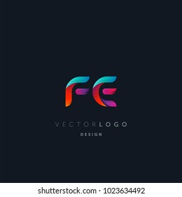 Letters F E, F & E logo, multi colour letters icon vector template.