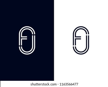 Letters F and J or FJ line logo design. Linear minimal stylish emblem. Luxury elegant vector element. Premium silver color sign. Graphic alphabet symbol for corporate business identity