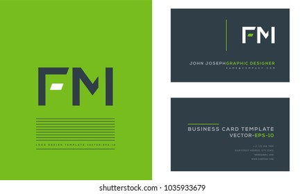 Letters F M, F & M joint logo icon with business card vector template.