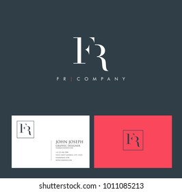 Letters F R, F & R joint logo icon with business card vector template.