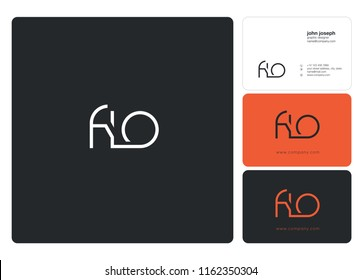 Letters FLO Joint logo icon with business card vector template.