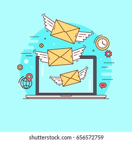 Letters flying out from laptop. Concept for e-mail marketing, business correspondence, communication by exchanging letters. Line flat design colorful vector illustration