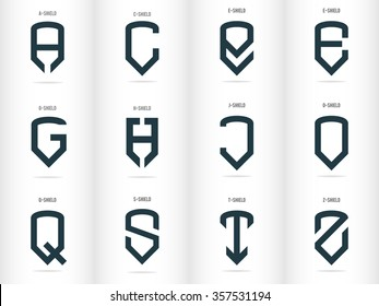 Letters in the form of shields. Logos set. Vector