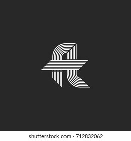 Letters ft logo idea monogram, linked hipster f and t symbols, overlapping thin parallel lines emblem modern style.