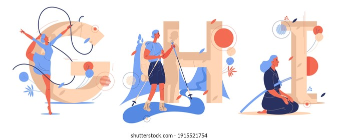 Letters G for gymnastics, H for hiking, I for iaido training. Vector female characters drawn in blue and orange. Educational set isolated on white with capital English characters