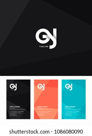 Letters G and J joint logo icon with business card vector template.