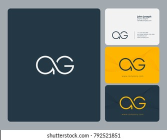 Letters A G joint logo icon with business card vector template.