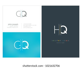Letters G Q, G & Q joint logo icon with business card vector template.