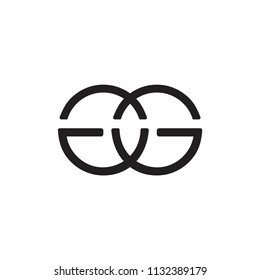 letters gg linked lines logo vector