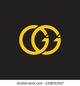 letters gg linked ring logo vector