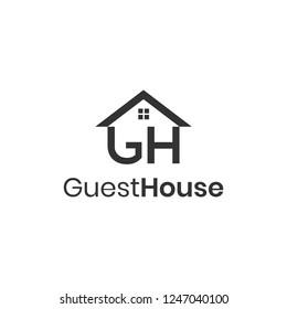 Letters GH, guest house logo design concept
