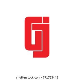 letters gj geometric logo vector