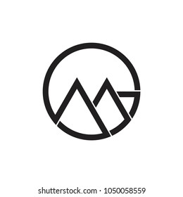 letters gm line art circle logo vector