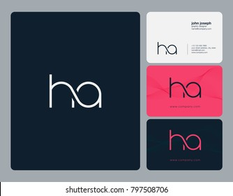 Letters H A, H&A joint logo icon with business card vector template.