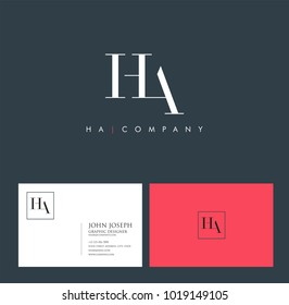 Letters H A, H & A joint logo icon with business card vector template.