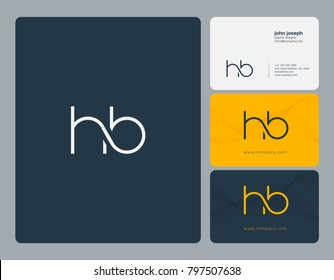Letters H B, H&B joint logo icon with business card vector template.