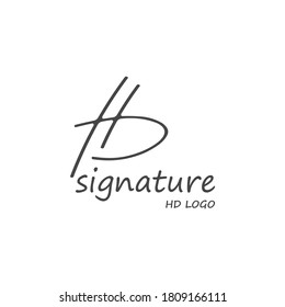 letters HD logo with modern simple signature concepts and background white