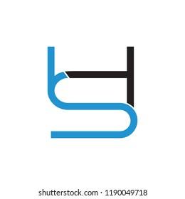 letters hs linked lines art logo vector