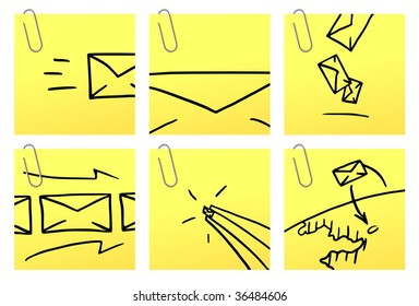Letters icons. Vector icons on yellow sticker with paper clip.