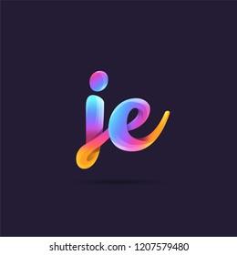 Letters J E, J & E 3D logo, multi colour gradient letters icon vector template.