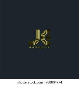 Letters J E joint line logo icon. Stroke letter vector element.