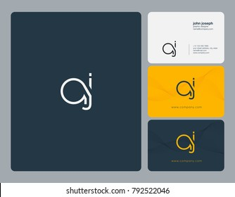Letters A J joint logo icon with business card vector template.