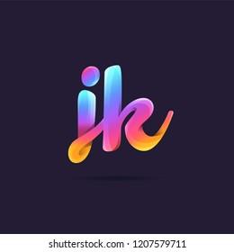 Letters J K, J & K 3D logo, multi colour gradient letters icon vector template.