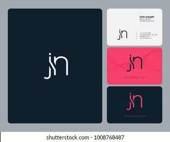Letters J N, J&N joint logo icon with business card vector template.