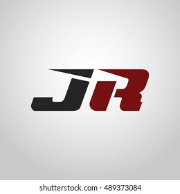 The letters J and R logo automotive black and red colored