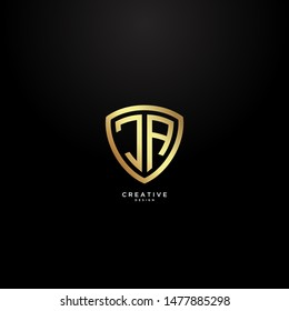 Letters JA logo with Shield shape and with elegant and luxurious gold coloring.