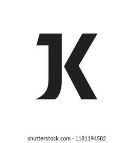 letters jk linked geometric logo vector