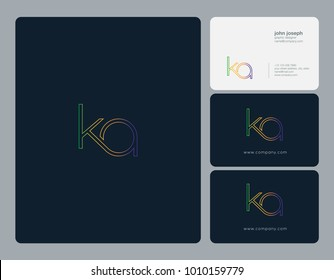 Letters K A, K & A joint logo icon with business card vector template.