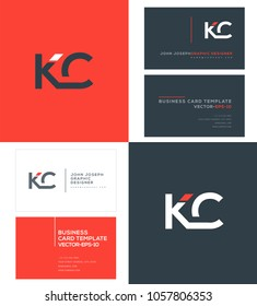 Letters K C, K & C joint logo icon with business card vector template.