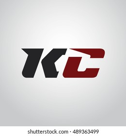 The letters K and C logo automotive black and red colored