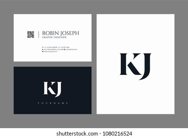 Letters K J, K & J joint logo icon with business card vector template.