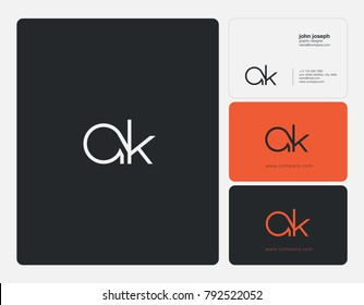 Letters A K joint logo icon with business card vector template.