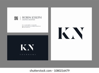 Letters K N, K & N joint logo icon with business card vector template.