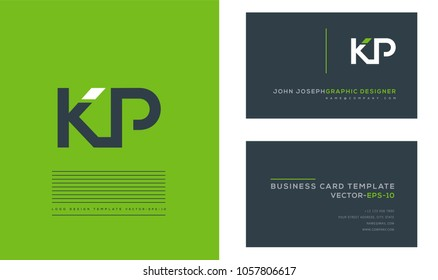 Letters K P, K & P joint logo icon with business card vector template.
