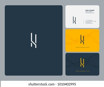 Letters L L, L & L joint logo icon with business card vector template.