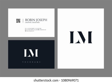 Letters L M, L & M joint logo icon with business card vector template.