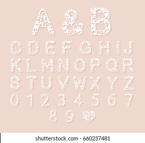 Letters for laser cutting. English alphabet. Vector illustration.