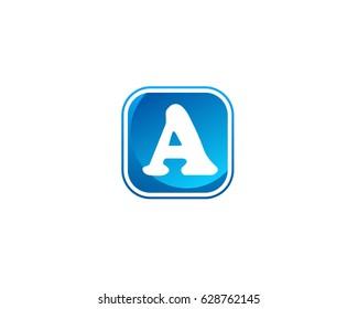 A letters logo design blue colors